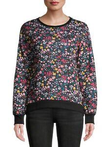 No Boundaries Women's Juniors Floral Print Sweatshirt Size 2XL (19) Black Floral