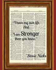 Stevie Nicks Stronger Quote Dictionary Art Print Book Page Mixed Media Picture