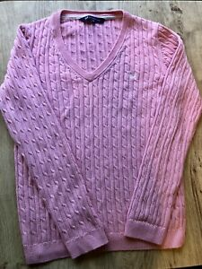 Ladies Crew Clothing Cable Knit Light Pink Jumper Sweater Size 12 VGC