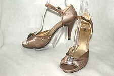 FIONI NIGHT ~ Taupe Satin Ankle Strap Classy Heels Sz 8 * GOOD-VERY GOOD