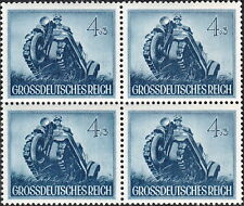 Stamp Germany Mi 874 Sc B258 Block 1944 WW2 Wehrmacht Armored Motorcycle MNG