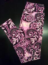 RARE Gorgeous NWT OS Purple BLACK Floral Scrolls PAISLEY LuLaRoe LEGGING Unicorn