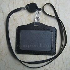 ID Card Holder Reels Retractable Badge Lanyard Y4