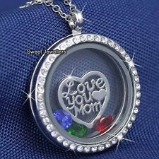 I LOVE YOU MUM Necklace Silver Heart Locket Gifts For Her Mom Mother Wife Women