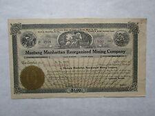Mustang Manhattan Reorganized Mining Company`   A 1917 Nevada Corporation