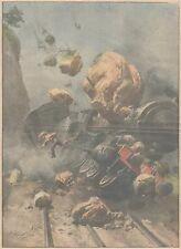 K0187 Frana precipita sopra un treno svizzero - Stampa d'epoca - 1931 Old print