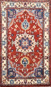 Vegetable Dye Floral Super Kazak RED/ IVORY Area Rug Handmade Wool Carpet 2x3 ft