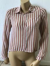 FOREVER 21 Womens Size Small Striped Button Front Hi Low Long Sleeve Shirt Sheer