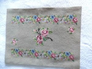 COMPLETED NEEDLEPOINT PANEL 50 X 39CM~CUSHION FRONT~STOOL TOP~ROSES ~FLOWERS
