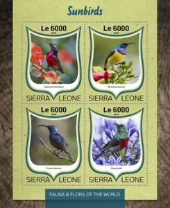 Sierra Leone - 2016 Sunbirds on Stamps - 4 Stamp Sheet - SRL16813a