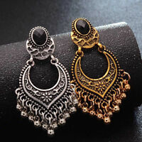 Women's Vintage Indians Boho Style Silver Carved Dangle Bead Tassel Stud Earring