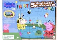 Peppa Pig 5 Wood Puzzles With Tray/Storage New