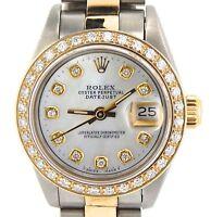 Rolex Datejust Lady 2Tone 18K Gold Steel Watch w/ White MOP Dial & Diamond Bezel
