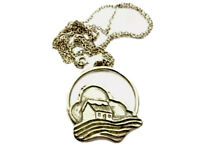 Vintage Sterling Silver MOUNTAIN COTTAGE SEA PENDANT Chain Necklace GIFT BOXED