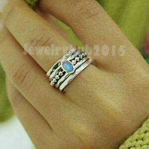 Ethiopian Opal Ring 925 Sterling Silver Spinner Ring Meditation Handmade Ring a2