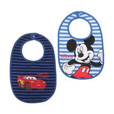 DISNEY BABY  lot de 2 bavoirs bébé CARS & MICKEY bleu et blanc NEUF