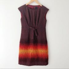 Anna Sui Black Label shift dress vintage mohair wool ombre burgundy red RARE 4