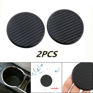 2Pcs Round Carbon Fiber Car Dashboard Water Cups Non-Slip Mat Accessories 2.48""