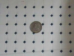 Dollhouse Miniature Navy Diamond Tile Flooring Floor 1:12 one inch scale Q10