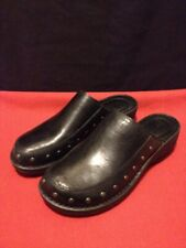 Born F49603 Black Leather Clogs Mules Slip On Shoes Women's Size 9 M