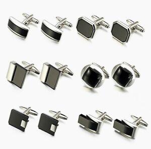 Silver Black High quality cufflinks agate  Business Shirt Novelty men Wedding