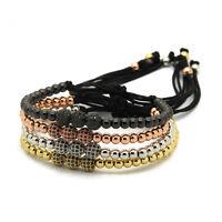 Anil Arjandas 6mm Gun Black Beads Pave 3 Ball CZ Bead Braiding Macrame Bracelet