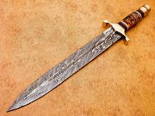 Rody Stan HAND MADE DAMASCUS FULLER MINI SWORD DAGGER KNIFE-  MP-5202