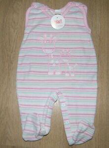 Baby Strampler rosa gestreift  NICKI  warm kuschelig Gr. 62
