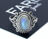 Designer 925 Sterling Silver Ladies Moonstone Round Gemstone Ring Gift