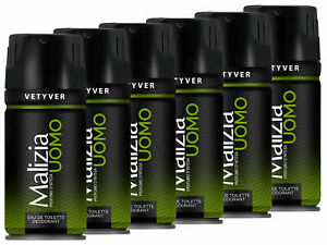 Malizia Uomo Deo 6x 150 ml Vetyver the green Deodorant from italy