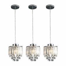 3 Pcs Crystal Chandelier Light Clear Pendant Lamp Ceiling Fixture Kitchen E26