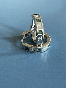 18ct White Gold Diamond Emerald Earrings Hoops Huggies 6gram