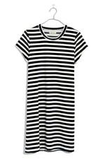 NWT Madewell Navy Blue White Striped Velour Tee Shirt Dress Size L