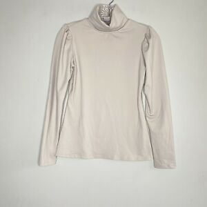 Rachel Parcell Sz XXS Puff Sleeve Turtleneck Top NWOT Beige Stretch Fitted 2XS