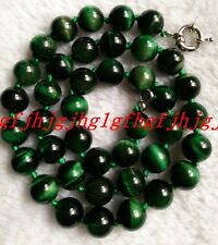 Natural Beautiful AAA+10MM Green Tiger's-eye Gems Round Beads Necklace 36""
