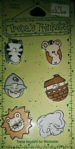 "1996 Trena's Trinkets "" NOAH'S ARK"" Ceramic Buttons  1"" animals"