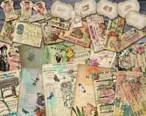 14 A4 Scrapbook Papier Ausschneidebogen Bastelpapier Vintage Nähen Ephemera 300g