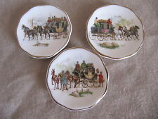 Miniature Bone China Plates With Coach Scenes Set Of Three Excellent Condition