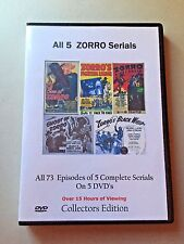 All 5 Complete Zorro uncut Serials -  Cliffhanger Movies - Sealed Great Gift