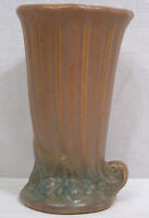 Vintage Early McCoy Brown & Green Pottery Cornucopia Vase Leaves, Berries 1926