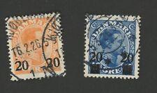 Denmark Stamps Scott #176 (Hr) & #177 (H) Both Used,