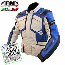 ARMR MOTO TOTTORI EVO 2 STONE/BLUE WATERPROOF MOTORCYCLE JACKET XXL