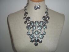 METAL TEXTURED LAYER DISC DROP NECKLACE SET SILVER TONE - NEW
