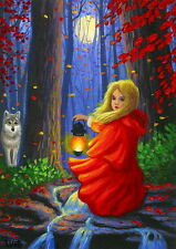 Little red riding hood wolf lamp forest moon fairy tale OE ACEO print art