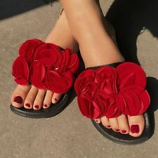Womens Flowers Flats Moccasin Slippers Summer Beach Slip On Sildes Mules Sandals