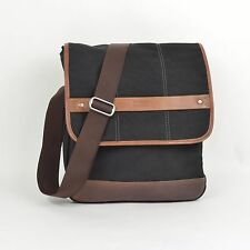 ELLINGTON Canvas & Leather Shoulder Bag Messenger CROSSBODY / Black Brown
