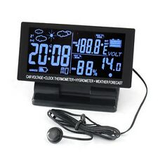 4in1 Digital Car Thermometer Hygrometer 12V LCD Weather Forecast Voltage Clock