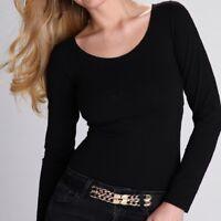 """Womens Girls  Black Top T-shirt Long Sleeves """"Petra""""  S M L XL"""