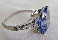 Absolutely Stunning 14K Gold Emerald Cut Purple/Blue Stone Diamond Accented Ring