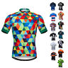Men's Cycling Jersey Short Sleeve Full Zip T-Shirt Bicycle Clothing Bike Tops